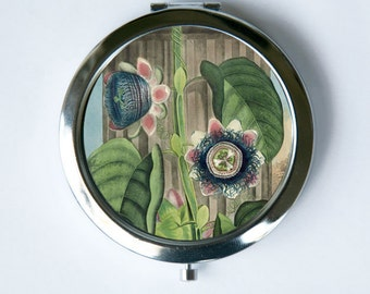 Quadrangular Passion Flower Compact Mirror Pocket Mirror