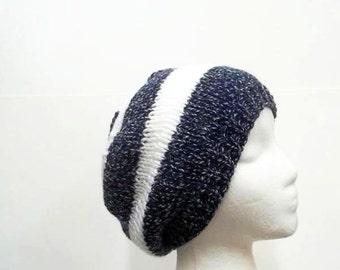 Navy blue white stripe knitted beanie handmade for men or women   5240