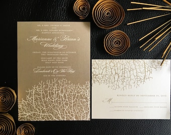Reef Wedding Invitation in Mocha