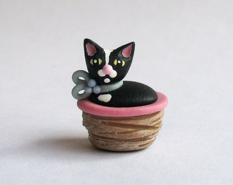 Handmade Miniature Tuxedo Cat in Basket Secret Box by C. Rohal