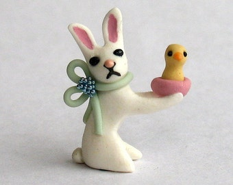 Miniature  Baby Bunny with Chick OOAK by C. Rohal