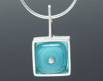 Square Turquoise Aqua Necklace - Mother's Day Gift, Handblown Glass Necklace, Everyday Necklace, Lampwork Glass Necklace