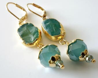 Aqua Quartz Earrings, Gold Electroplated Quartz, Gold Earrings, Crystals, Sea Green, Beaded Jewelry, Beaded Earrings, OOAK, Gift for Her