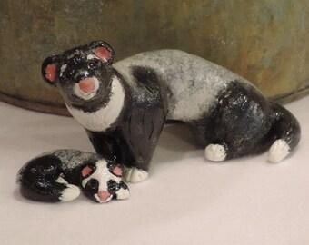 weasel sable,sable ferret,ferret deco,ferret decoration,pet deco,animal lover,figurine,hand sculpted,