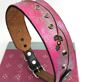 Pink Leather Dog Collar, Large Dog Collar, Leather Collar Dog with Flower Tooling, Size M/L to fit a 16-19 Neck, Handmade from Seattle
