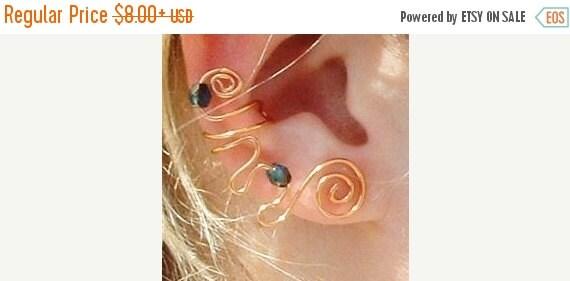 ON SALE Ear Cuff Emerald Green Copper Celtic Swirl, No Piercing, Fairy Jewelry, Fantasy Vine Wrap, Gift Idea, Gift for Her Stocking Stuffer