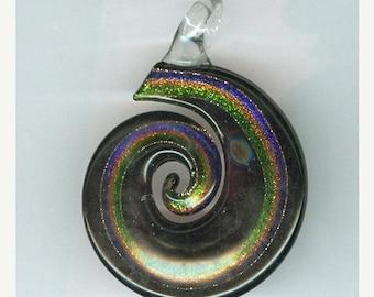 BLOWOUT SALE 60x45mm Black and Gold Swirl Flat Lampwork Focal Pendant Bead