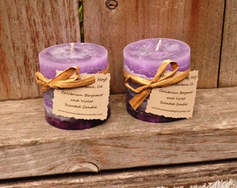 SALE: Pair of Calibrian Bergamot and Violet Scented Tiny Round Pillar Candles