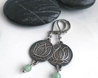 Silver Lotus Earrings Handmade Pure Silver Genuine Stone Amethyst Green Aventurine and Aqumarine
