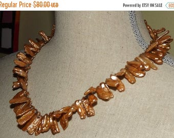 MOTHERS DAY SALE Half Off Sale unique rare Golden Biwa Pearl Necklace - One of a kind