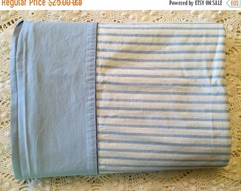 HOLIDAY SALE - Vintage Percale All Cotton Sheet - Blue Stripe - Full Flat - Cotton Percale