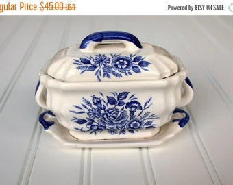 BIG SALE - Blue and White Tureen - Lidded - Small Transferware Dish with Tray
