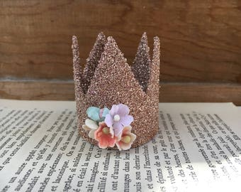 Pink German Glass Glitter Crown with  Vintage Millinery Flowers - Mini