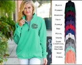 Monogrammed 1/4 Zip Sweatshirt Charles River Crosswind Personalized Crosswinds Pullovers, Monogram Quarter Zip Sweaters with pockets 9359