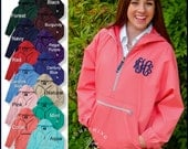 Monogram Windbreaker Jacket - Charles River Pack N Go Windbreaker Pullover 9904, Personalized Rain Jackets, Hooded 1/2 Zip windbreaker