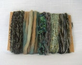 Yarn Bundle Handspun Wool Green Scrap Yarn Art Fiber Supplies 1463