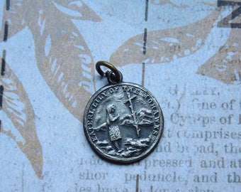 Vintage Saint Kateri Tekakwitha Double Sided Silvertone Medal, Lily of the Mohawks, Birthplace Auriesville, NY, Place of Answered Prayer
