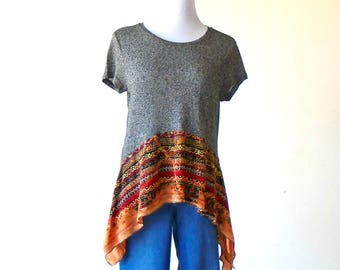 Size M-L~ Butter Soft Gray Knit Top / Tunic & Distressed Skirt ~ gypsy clothing lagenlook handmade upcycled boho chic hippie wearable art