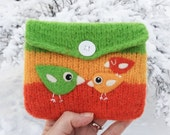 SPRING SALE Felted pouch orange yellow green wool bag cozy hand knit needle felted  birdie birds