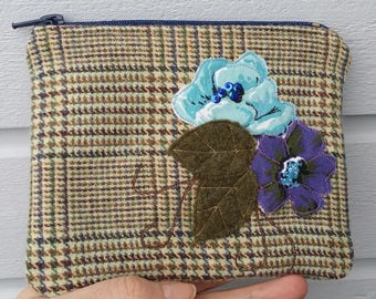 Zippered purse pouch light brown blue green tweed wool fabric with rawedge applique flowers