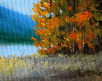 Small Landscape Oil Painting, Original 5x7 Stretched Canvas, Autumn Lake Scene, Orange Trees, Rural Fall Scene, Blue Brown, Wall Decor