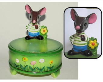 Vintage Gorham Man Boy Mouse Music Box, 60s, flowers, bright Green, plays - Everything is beautiful