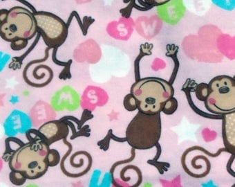 Snuggle flannel, pastel pink with hearts and stars, silly monkeys, girl, infant, toddler, 3 yards, very soft and cute, sewing, quilting