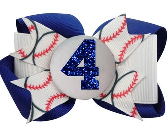 Royal Blue Glitter Baseball Hair Bow Hairbow Number Custom white  Personalized, Softball Choose your bow colors
