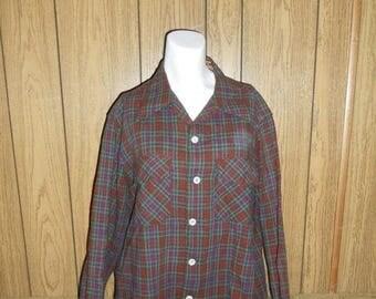 Closing Shop Sale 45% Off Closing Shop Sale 40 Percent Off Vintage Clothing mens  40s 50s WOOL button up Plaid long sleeve Shirt