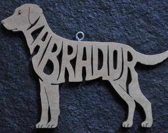 Lab Labrador Dog Decoration Ornament Wood Cut Out