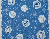 Penguin Fabric 'Penguins and Snowflakes' Cotton Furoshiki Blue Japanese Fabric Square 50cm w/Free Insured Shipping