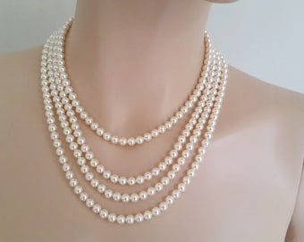 Pearl Wedding Necklace, Swarovski Pearl Bridal Jewelry, Vintage Inspired Bridal Necklace, Wedding Jewellery