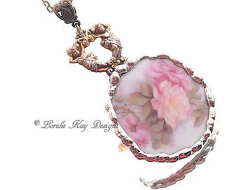 Romantic Pink Roses Broken China Necklace Soldered China Roses & Cherubs Necklace Mother's  Day Gift