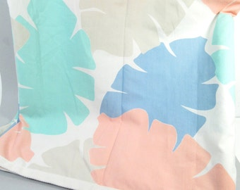 Vintage full flat sheet, double flat sheet, tropical leaf print, 1980s or 90s pastel tropical bed sheet