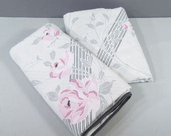 Vintage twin sheet set, twin bedding, 1980s sheets, gray with pink roses, floral with stripes, 80s bedding