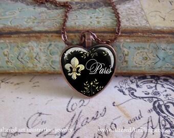 I Love Paris, original art pendants, gift boxed and ready to ship, fleur de lis, Marie Antoinette pendants, Paris, heart pendants, valentine