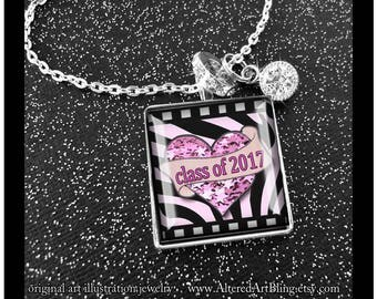 Class of 2017,  original art, gift boxed READY to SHIP, bling, black, graduation gift, birthday pendants, gifts for grads,stars,graduation