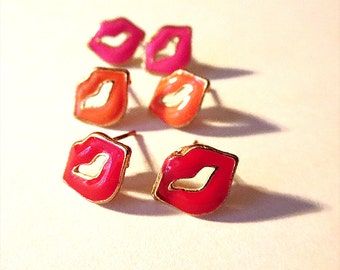 Tiny hot pink, red and coral lip kiss gold stud earrings. Delicate, classic, feminine. Gift, stocking stuffer. On sale, teen, fun, under 10