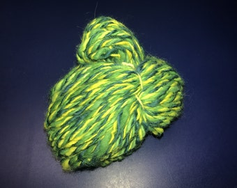 5.5oz Handspun Wool BULKY Yarn - green, blue, yellow