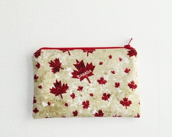 Small Zippered Notions Pouch - Maple Leaves, Canada