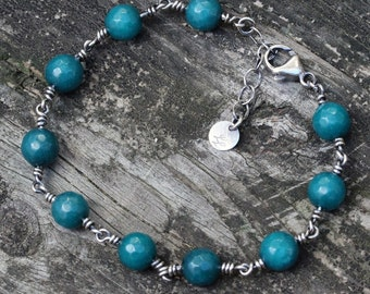 Teal agate sterling silver beaded bracelet