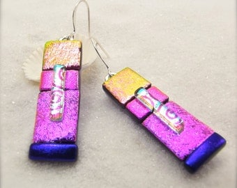 Trending now, dichroic glass earrings, Fused dichroic jewelry, Hana Sakura Designs, handcrafted designs, statement earrings, glass fusion