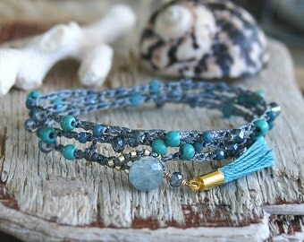Boho Wrap Bracelet, Stackable Bracelet, Bohemian Bracelet, Gypsy Style, Summer Bracelet, Boho chic, Boho Luxe, Tassel Jewelry, Blue and Gray