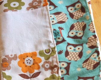 Entire Shop On SALE Modern Crinkle Baby Blanket, Owls and Flowers Orange, Aqua & White. Cotton and Flannel, ready to ship Sensory Blanket, Q