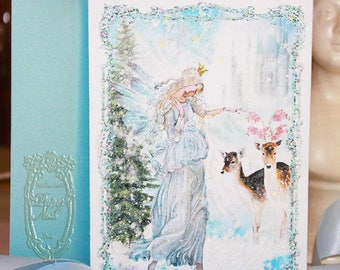 """The Blue Christmas Fairy Angel Set of Six 5 x 7"""" Folding Cards and White Shimmer Metallic Envelopes and Seals"""