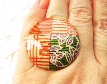 Japanese Ring -  Chiyogami Ring -  Japanese Paper Ring - Button Ring - Unique Ring -   Adjustable Ring - Adjustable Band
