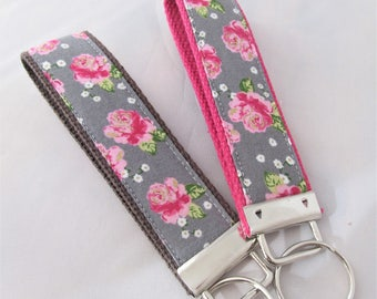 Keychain Wristlet Key fob - Roses with Metallic Gold Accent - Fabric Keychain