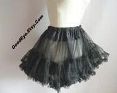 Vintage Black Nylon Petticoat 1950s 60s / FLUFFY Light Weight SHEER / Short Length / Waist 24 to 40 inch small medium size