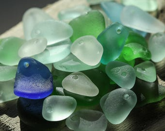 Bulk sea glass - Drilled sea glass - Sea glass crafts - Beach glass for jewelry making -  Sea glass Charms - Beach lover - Blue sea glass