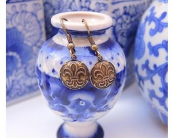 Earrings Fleur de Lis Antique Brass